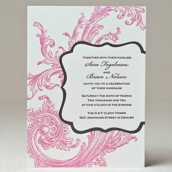Sweet letterpress design wedding invitations letterpress chic swirl wedding invitation stopboris Image collections