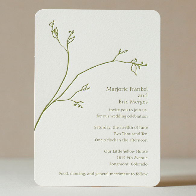Zen Branch Wedding Invitation