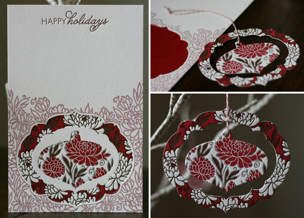 letterpress pop-out ornament holiday card