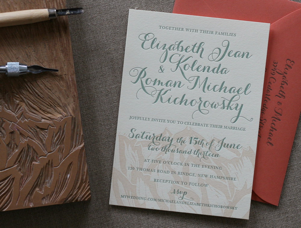 apricot & sage peony letterpress wedding invitation