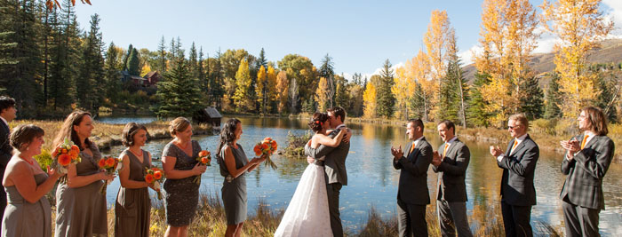 Wedding vows on the banks of Hallam Lake