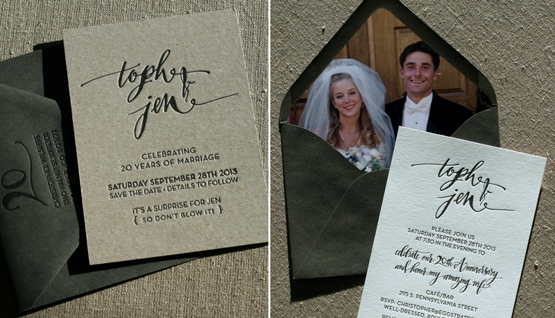 Custom calligraphy on chipboard save the date and vintage wedding photo envelope liner