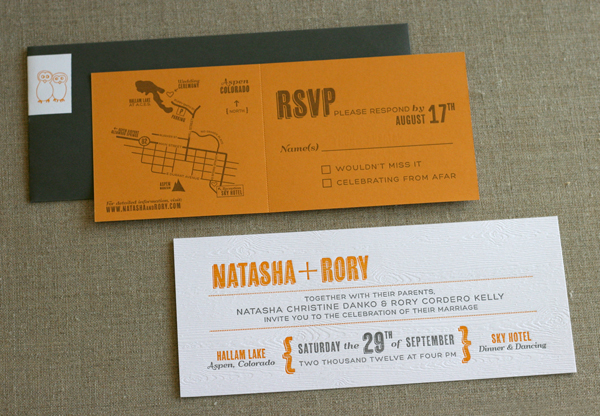orange and gray woodgrain wedding invitations with illustrated owls and rustic fonts