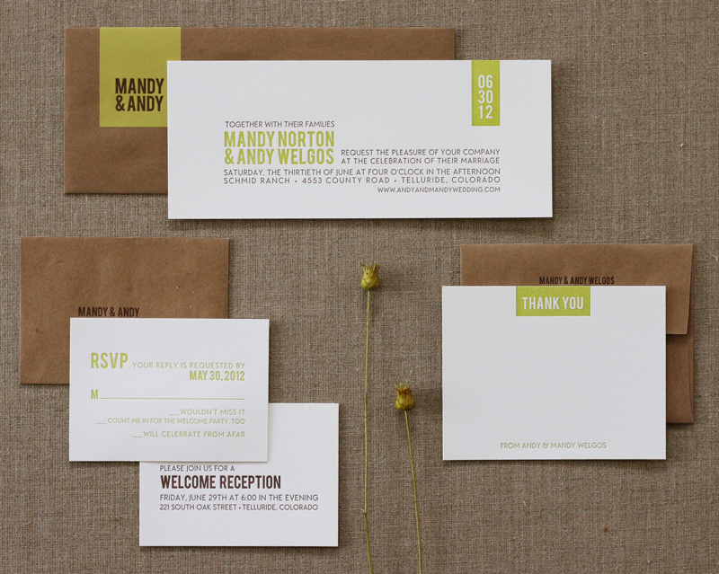 Rustic modern letterpress wedding invitation brown, green, bold lettering