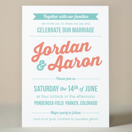 retro party wedding invitation 4 00 sweet letterpress design