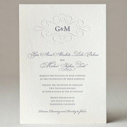 Monogram Wedding Invitation 400 SWEET Letterpress Design