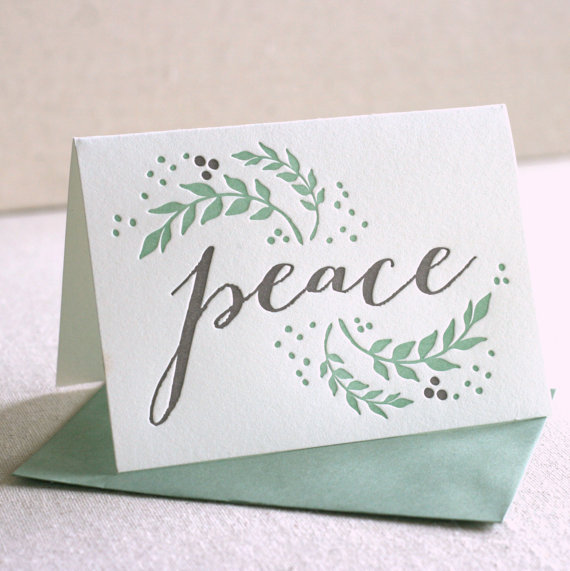 peace with olive branches - Letterpress Holiday Cards