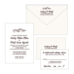 Classic 4 piece 1 color letterpress wedding invitation set
