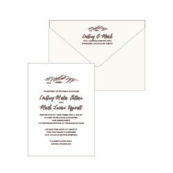 Minimalist 2 1 color piece letterpress wedding invitation set