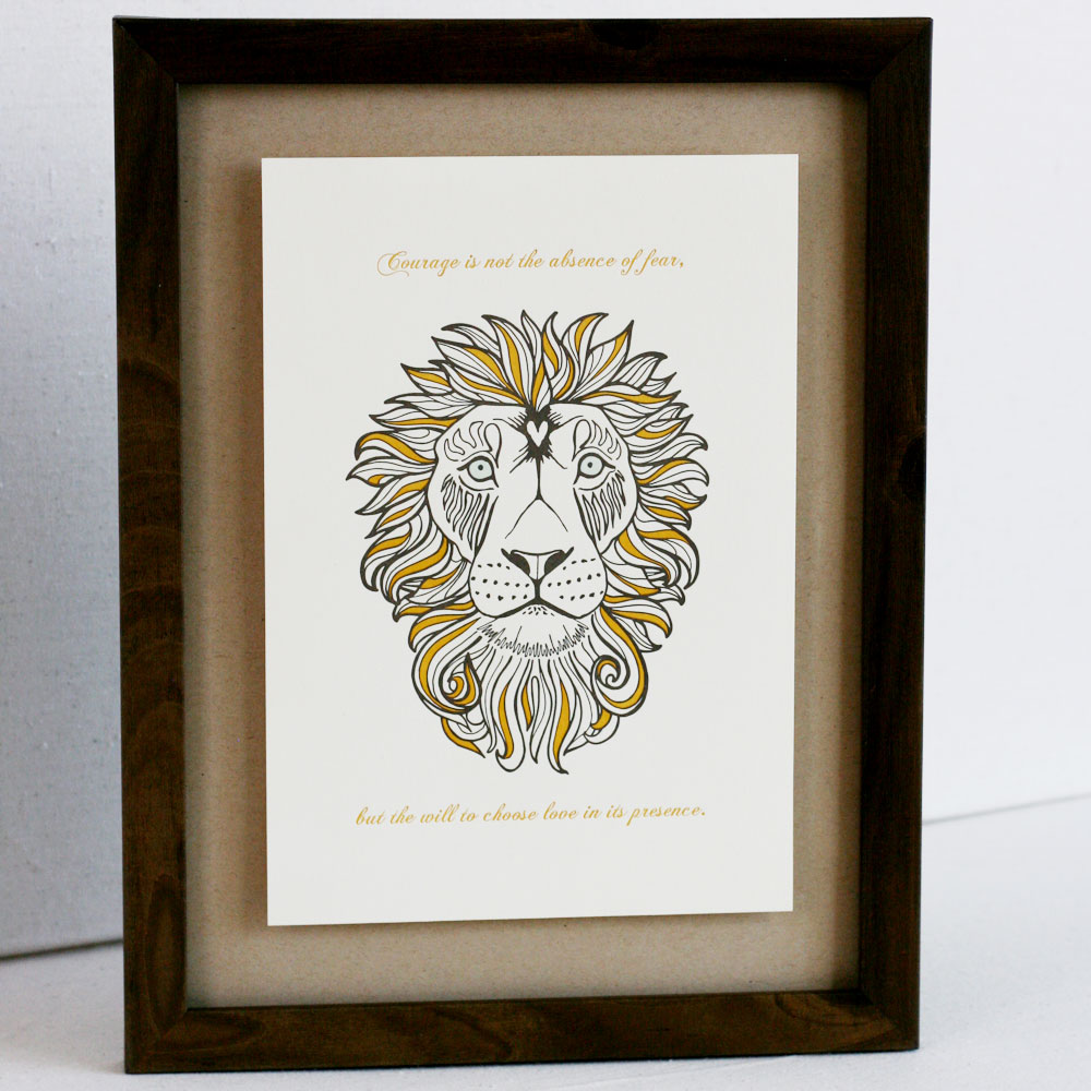 Lion Letterpress Print with Quote