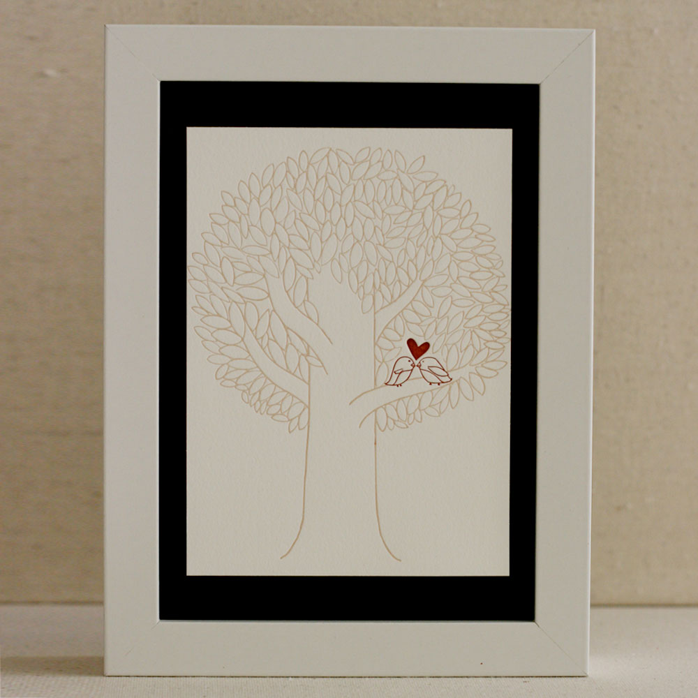 Lovebirds Letterpress Print