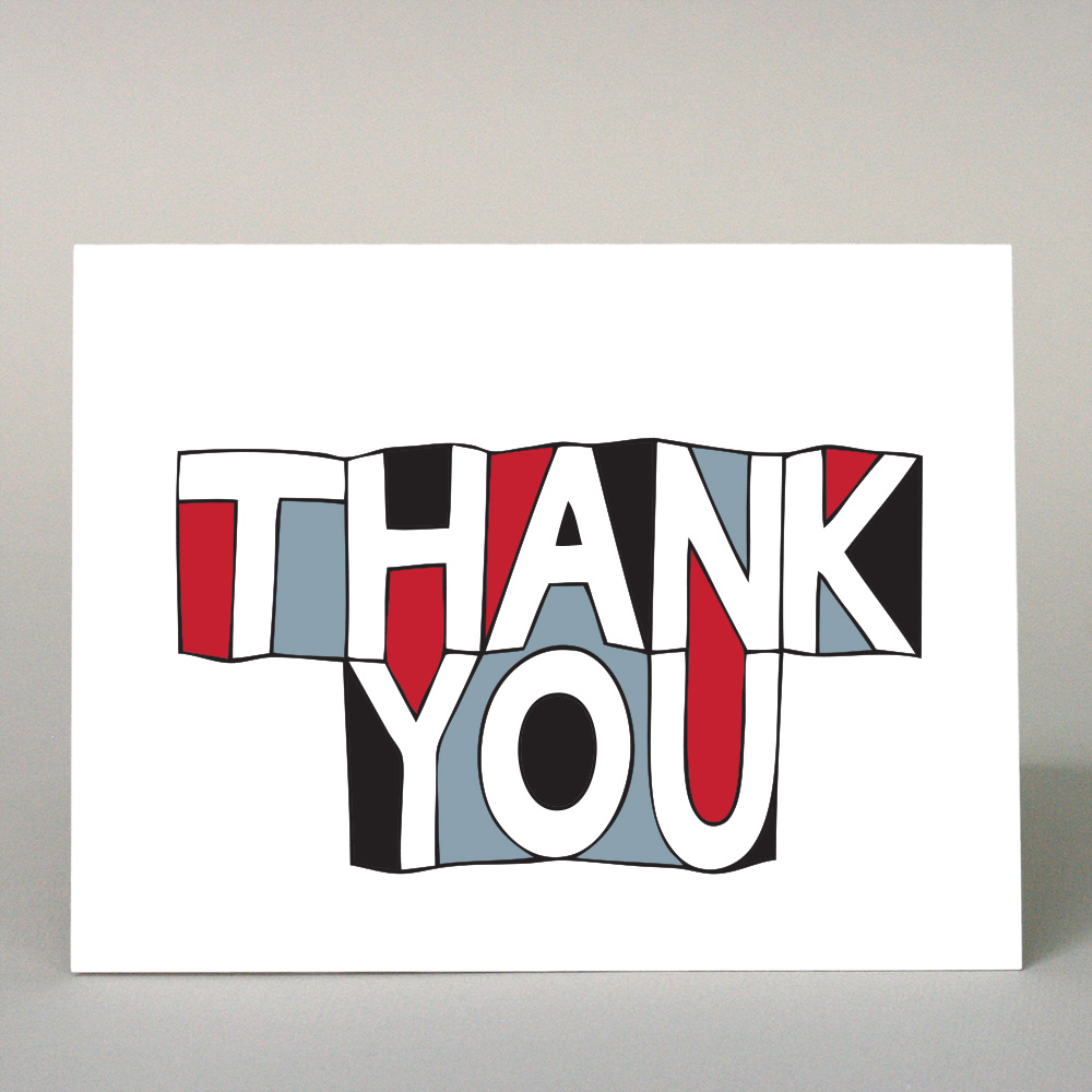 GF-103 Thank You, Black & Red Block Letters