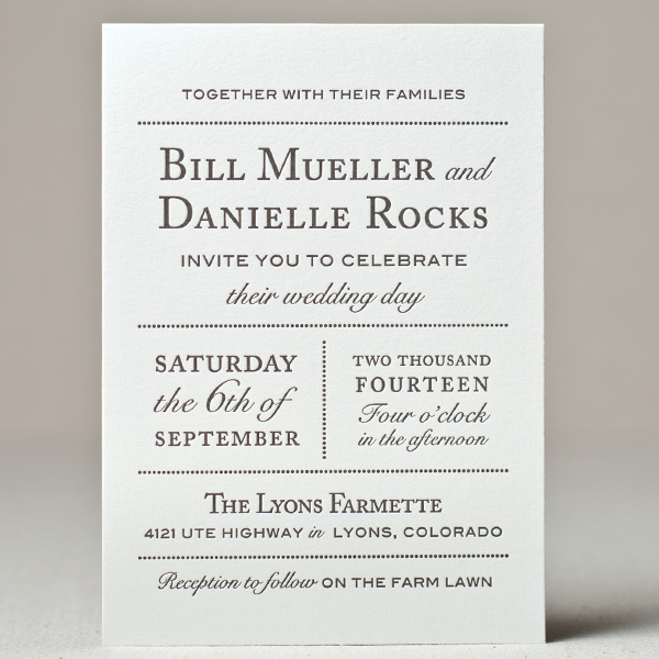 Wedding invitations sweet letterpress design wedding farmette wedding invitation stopboris Image collections