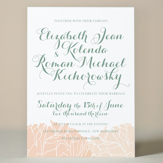 Peonies Wedding Invitation