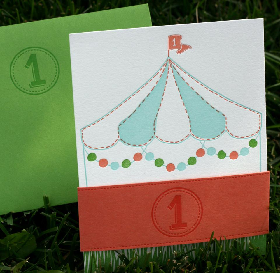 first-birthday-letterpress-carnival-belly-band | Wedding Invitations ...