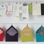 4 envelope liners hung in our studio