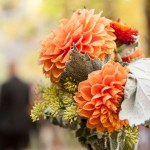 The bridesmaid's bouquet with orange flowers