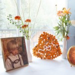 Childhood photos on side table