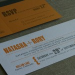 Impression from letterpress on invitation