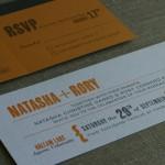 Impression from letterpress on invitation