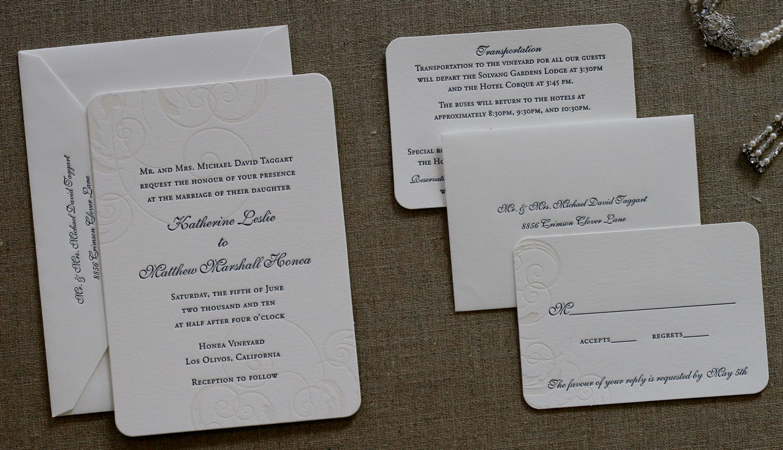 Honea Elegant Letterpress Wedding Invitation Wedding Invitations