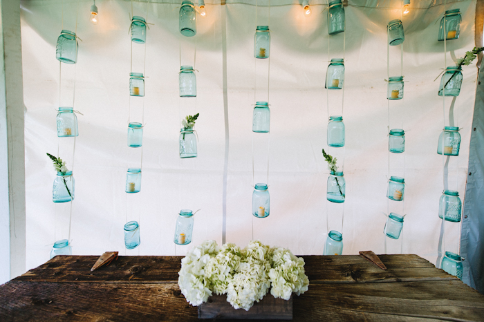 Mason Jar Floral Display Wall